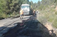 Bovera repara la carretera cap a Palma d'Ebre